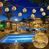 Guirlande Lumineuse, Guirlande Lumineuse Marocaine Led, Guirlande Lumineuse Exterieur, 6M 40 LED fonctionnement à pile pour Noël Halloween Mariage Soirée Jardin (Blanc Chaud, Batterie non incluse)