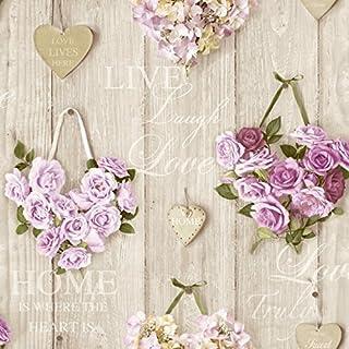 Grandeco A14502 Pattern line Vintage Hearts Paper Wallpaper, Multi-Colour, 10.05 x 0.53 m