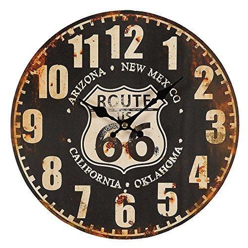 G1247: Route 66 Wanduhr im Retrostil, Biker Uhr, Kneipen Uhr US Route 66