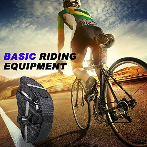 Fahrrad Satteltasche, Ubegood Kompakte Fahrradtasche Befestigungsriemen Aero Wedge Pack Satteltasche Mountainbike Bag für Handy, Werkzeug und Portmonnaie - Schwarz - 4