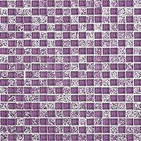 Vidrio Mosaico pared azulejos Negro Morado Rojo Rosa Plata Blanco Roto transparente cristal (MT0070Matte)