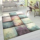 Paco Home Designer Teppich Modern Konturenschnitt Karo Farbverlauf Pastell Mehrfarbig, Grösse:160x230 cm
