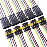 TOOHUI 5 juegos 4 Pin Way Car AMP Conector eléctrico con Conector del cable del cable Mujer Hombre Impermeable Automóvil, 18 AWG Marine