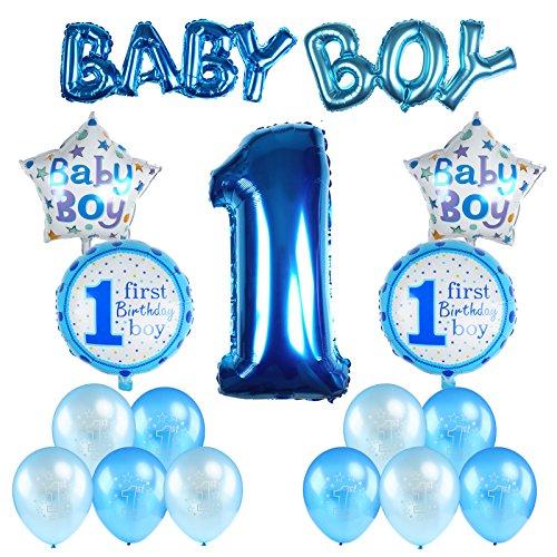 Kesote 17 Stück Geburtstag Ballon Set, Helium Folie Ballons und Luftballons für Geburtstag Deko 1 Jahr Alt (Baby Boy Junge)