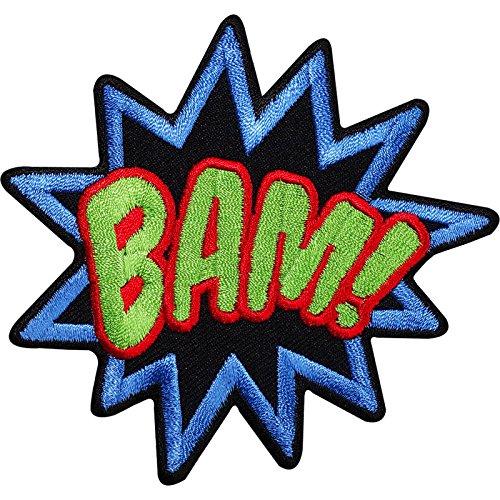 Bam bestickt Eisen/Nähen auf Patch T-Shirt Tasche Badge Batman Superman Comic Wort (Bam Taschen)