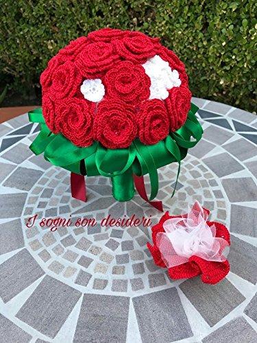 Laurea bouquet sposa matrimonio nozze damigella bouquet da lancio stile vintage rustico rosso realizzato interamente a mano, composto da roselline artificiali lavorate all'uncinetto, nastri di raso.