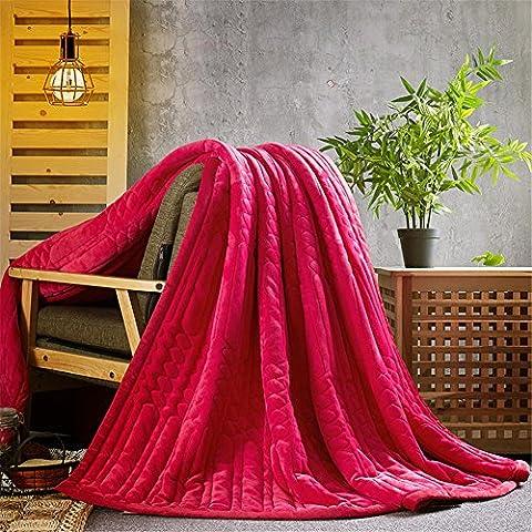 simonshop Super Warmer Flanell Fleece Bett Decke Cozy Plush massiv Decke für Bett oder Sofa/Couch, hot pink, 180x200cm