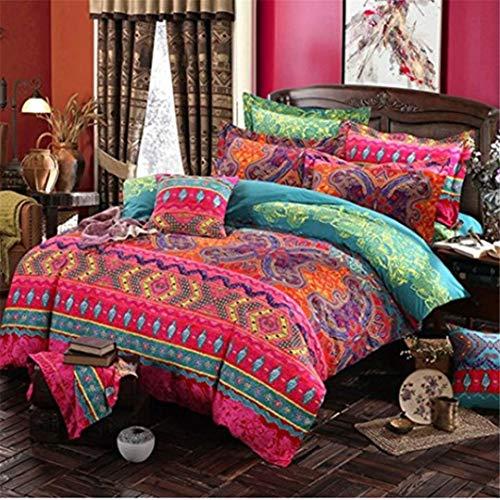JIEDEGANJUE Bohemian 3D Tröster Bettwäsche-Sets Mandala Bettbezug-Set Winter-Bedsheet Pillowcase Königin King Size Bettwäsche Bedspread Burgundy Us Twin 3Pcs -