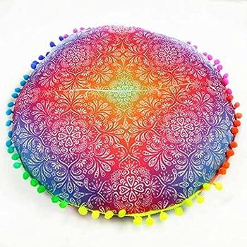 Vovotrade Coussins de Sol pour Mandala Indienne Coussins de Bohème Ronds Coussins Housse d'oreiller (A-2)
