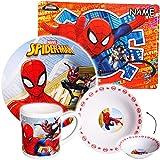 """4 tlg. Geschirrset - """" ultimate Spider-Man """" - incl. Name - Porzellan / Keramik - Trinktasse + Teller + Müslischale + Platzdeckchen - Kindergeschirr - Frühstücksset für Kinder - Jungen - Eßgeschirr - Frühstücksgeschirr Geschirr - Service - Kinderservice / Frühstücksservice - Kinderset - Suppenteller / Kindergeschirrset - Müsli / Suppe - Frühstück & Abendessen - Amazing Spiderman Aktion Figur Spinne - Superheld - Peter Parker - Spider Man"""