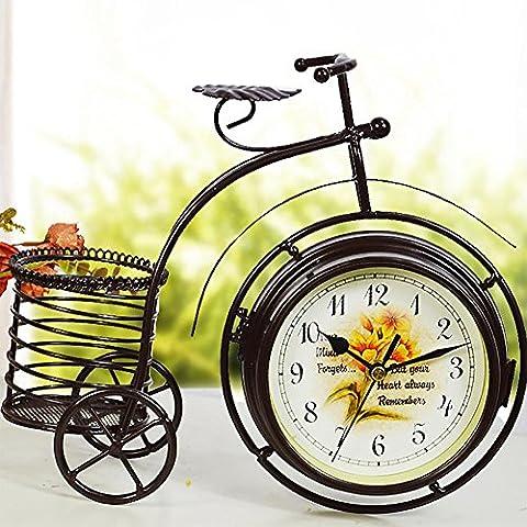 MCC Vintage vélo Horloge modélisation de fer silencieux Décoration de table créative pastorale Décore Chambre pour enfants Cadeau de personnalité belle horloge double face , black