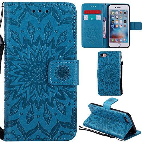 Ooboom® iPhone 5SE Hülle Sonnenblume Muster Flip PU Leder Schutzhülle Handy Tasche Case Cover Stand mit Kartenfach für iPhone 5SE - Rose Gold Blau