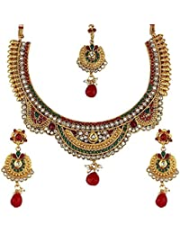 Jewellery Sets For Women Gold Plated Necklace Jewllery Set With Earrings And Maang Tika Jewellery For Girls Women...