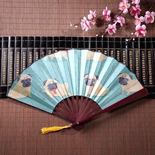 -Zeichentrickfilm-Figur-Mops-Hund wirft nettes mit Bambusrahmen-Quasten-Anhänger und Stoff-Tasche Nct-Handventilator Handgeklappter Ventilator Chinesischer Ventilator mit Griff au ()