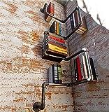 HQQ Weinlese-antikes Bücherregal/Wand-Hängen/Eisen-Ecke Bücherregal-Regal für Wohnzimmer Bar-Küche/Wasser-Rohr-dekoratives Wand angebrachtes Regal-Ecken-Rahmen-Schiefer-Speicher-Stand 30 * 30 *