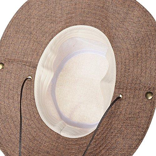 WITHMOONS Casquette de Baseball Boonie Bush Hat Wide Brim Side Snap Mesh Neutral Color KR8341 Beige
