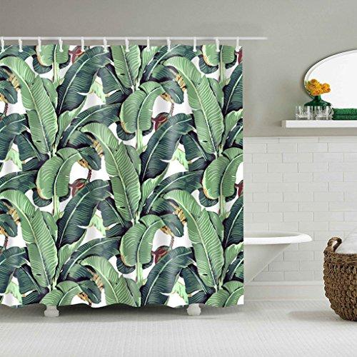GUBENM Duschvorhang, Grün Banane Blätter Badezimmerdekor Duschvorhang wasserdicht Stoff mit 12 Haken Dusche Vorhang-stab-hardware