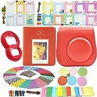 Katia Mini 8 Immediata Camera Pacchi accessori Set adatto per FujiFilm Mini 8 Camera - Instax Mini Book Album - Mini 8 lente close-up specchio Autoritratto - Colorful Decor Sticker Borders - arredamento colorato Wall Hanging Frame - Set3 - Red
