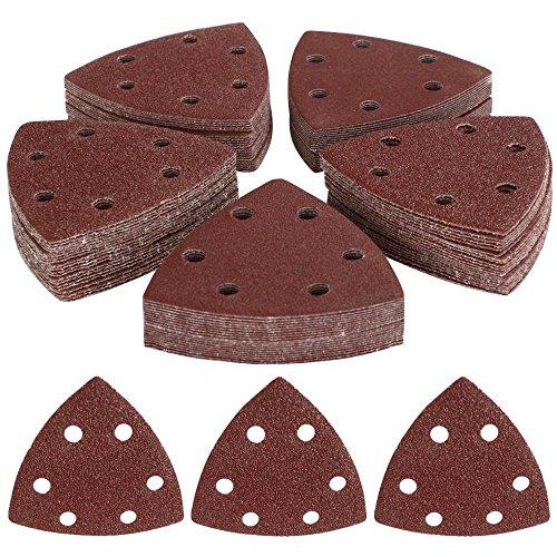 Yahee 100x Schleifdreiecke Schleifpapier Schleifblätter 6 Loch gemischte mit verschiedenen Korn