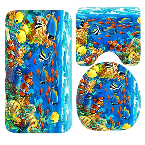 mchmcgm Toilet Set Ocean Tropical Fish Coral Undersea World Fish 3 Piece Bathroom Set Fußabtreter Rug Non-Slip Contour Rug Toilet Lid Cover and Bath Fußabtreter - Coral Tropical Teppich