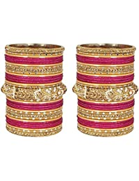 Much More Gold Plated Bangle Set With Beautiful Kada For Women's