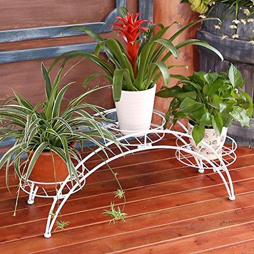Arched Iron Art Plant Shelf Européen - Style Indoor And Outdoor Flower Stand Balcon Floor Flower Pots Shelf Multi-Color Optionnel (Couleur : Blanc)