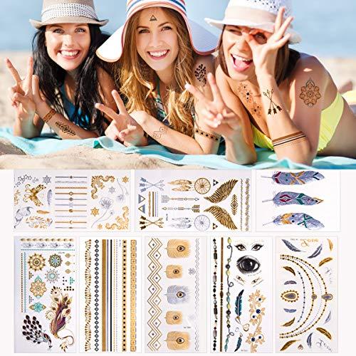 23 fogli tatuaggi temporanei metallici (disegni 450+), tatuaggi oro brt tatuaggi finto argento tatuaggi tatuaggio impermeabile adesivi body art