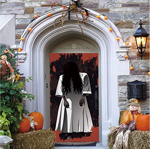 xxsongue Long Hair Woman Ghost 3D Door Stickers Removable Waterproof Scary Effect Halloween Wall Art Sticker