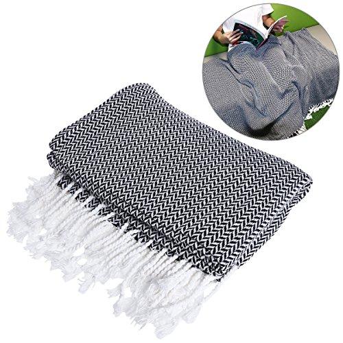 WINOMO Decke Sofadecke Weiche Baumwolle Große Handtuch umkehrbar für Couch Stuhl - Grau Fischgrät Wolle