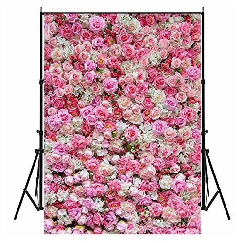 Blumen-wand (150cmx210cm Foto Hintergründe, wcic Romantische Blume Wand Fotografie Studio Hintergrund für Hochzeit Valentinstag Xmas Baby New Born Geburtstag Party, Model C-226, 150cmX210cm)