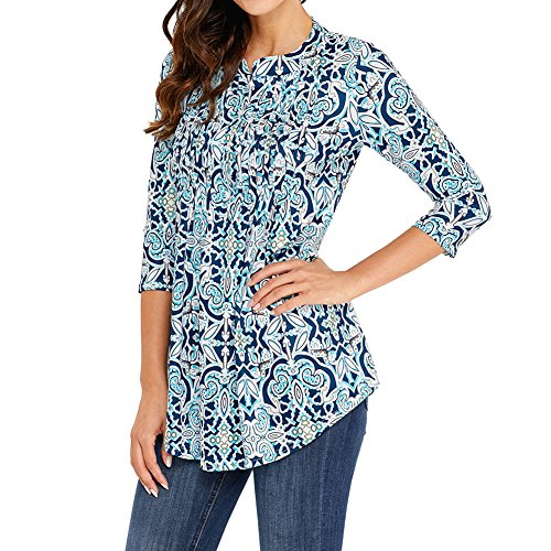 Blouses dames de base Tunique Loose 3/4 Sleeve Chemisier décontracté Blouse imprimée à fleurs Vintage Chemises tuniques Blouse de mode pour les femmes Bleu Clair