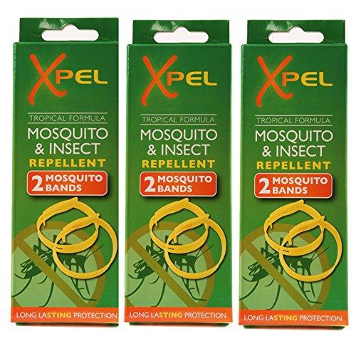 Xpel 3confezioni da 2braccialetti repellenti antizanzare per adulti tropical formula (senza deet)