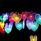 ZS ENNDE 20ft 30LED Heart Shaped Solar Fairy String Waterproof Lights Christmas Lights Solar Powered String lights for Garden Patio Home Christmas Tree Parties (Multiple Colour)