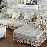J&DS Canapé couvrir glace soie anti-dérapant canapé housse tache résistante meubles été protecteur pour 1,2,3 coussin canapé salon-A 80x80cm(31x31inch)