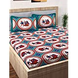 Story@Home Pearl Rajasthani Jaipuri Collection 100% Cotton Double Bedsheet with 2 Pillow Covers, 120 TC - Traditional Pattern (Blue)