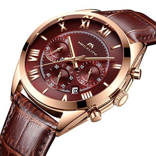 Herren Uhren Lederband Männer Chronograph Sport Wasserdicht Datum Kalender Luxus Mode Römische Ziffern Armbanduhr Geschäfts Beiläufig Analog Quarz Uhr mit Braun Zifferblatt Echtes Lederband