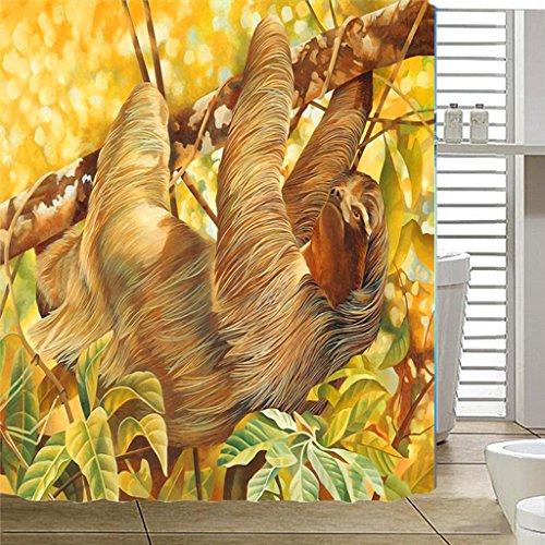 (RLF LF Wasserdichter Und Mehltau-Duschvorhang 3D-Digitaldruck Hochwertiges Polyester Haushalt Dusche Vorhang Tuch Durch RLF.LF,Yellow,240Cm*200Cm)
