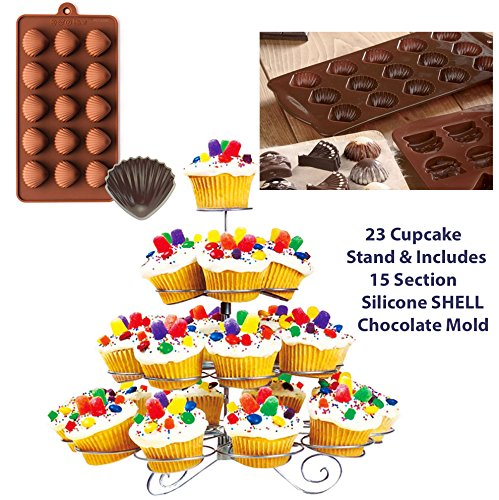 4 Tier 23 Cups CUPCAKE STAND Display Holder MUFFIN CAKE STAND Tree -Weddings, Birthdays, Parties, Cake Display, & 15 SECTION Silicone CHOCOLATE MOLD