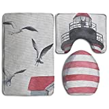 cleaer Lighthouse and Seagulls Flannel Bathroom Carpet Rug Non-Slip 3 Piece Toilet