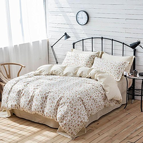 Cnspin bettwäsche Set Vintage Mode Blume Baumwolle einfache Schlafzimmer Set 4 stücke (1 bettbezug/1Bed leinen/2 Kissenbezüge), A, König -