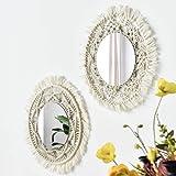 Espejo de pared con diseño de macramé, 2 piezas, hecho a mano, macramé, colgante bohemio, con flecos, redondos, decoración pa