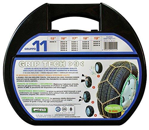 CORA 000142111 Catene da Neve per Auto Grip Tech, 9 mm, Gruppo 11 Set di 2