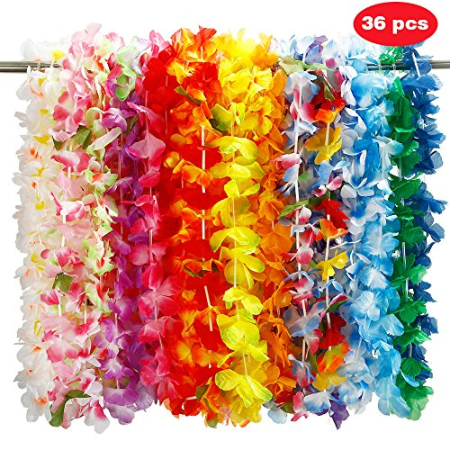 s Skirt with Flower Leis Costume Set, Luau Grass and Hawaiian Flower Bracelets, Headband, Necklace for Party Favors ()