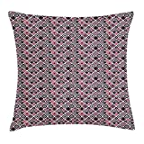WITHY Abstract Throw Pillow Cushion Cover, Vintage Minimalist Squares Avant Garde Artistic Symmetrical Cubes Illustration, Decorative Square Accent Pillow Case, 18 X 18 inches, Multicolor