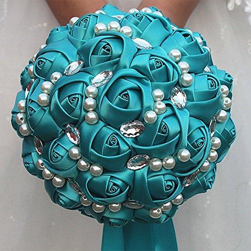 OOFAY TAPS Élégante Rose Bleue, Bouquet De Mariée De Mariage, Demoiselle D'honneur Satin Artificielle Rose Fleur À La Main Strass Diamant Perles Satin Ruban Décor