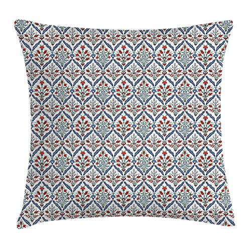 BHWYK Traditional House Decor Throw Pillow Cushion Cover, Turkish Ceramic Tulip Patterns with Cultural Ottoman Royal Lines Design, Decorative Square Accent Pillow Case, 18 X 18 Inches, Multi