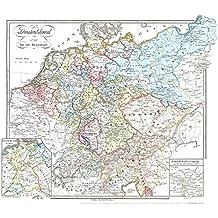 Historische Karte: DEUTSCHLAND von 1792-1854 (Plano): mit zwei Teilkarten: Deutschland 1811 und einer Karte von der Völkerschlacht bei Leipzig 1813