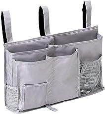 OUNONA Bedside Caddy Storage Organizer Hanging Bag Chair Desk Sofa Slipcovers TV Remote Controller Holder Organizer Bag Table Cabinet Magzine Book (Sliver Grey)