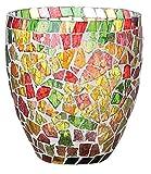 Windlicht Windlichthalter Teelichthalter Glas Mosaik Mosaiksteine bunt • 2 Größen zur Auswahl Höhe 9cm oder Höhe 13cm Gartendekoration Gartendeko Frühling Sommer (Windlicht groß Höhe 13,5 cm)