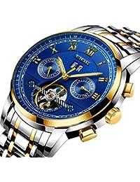 ad24355f29e LIGE Relojes Hombre Impermeables mecánicos automáticos de Plata Acero Lujo  Clásico Esqueleto Tourbillon Reloj ...